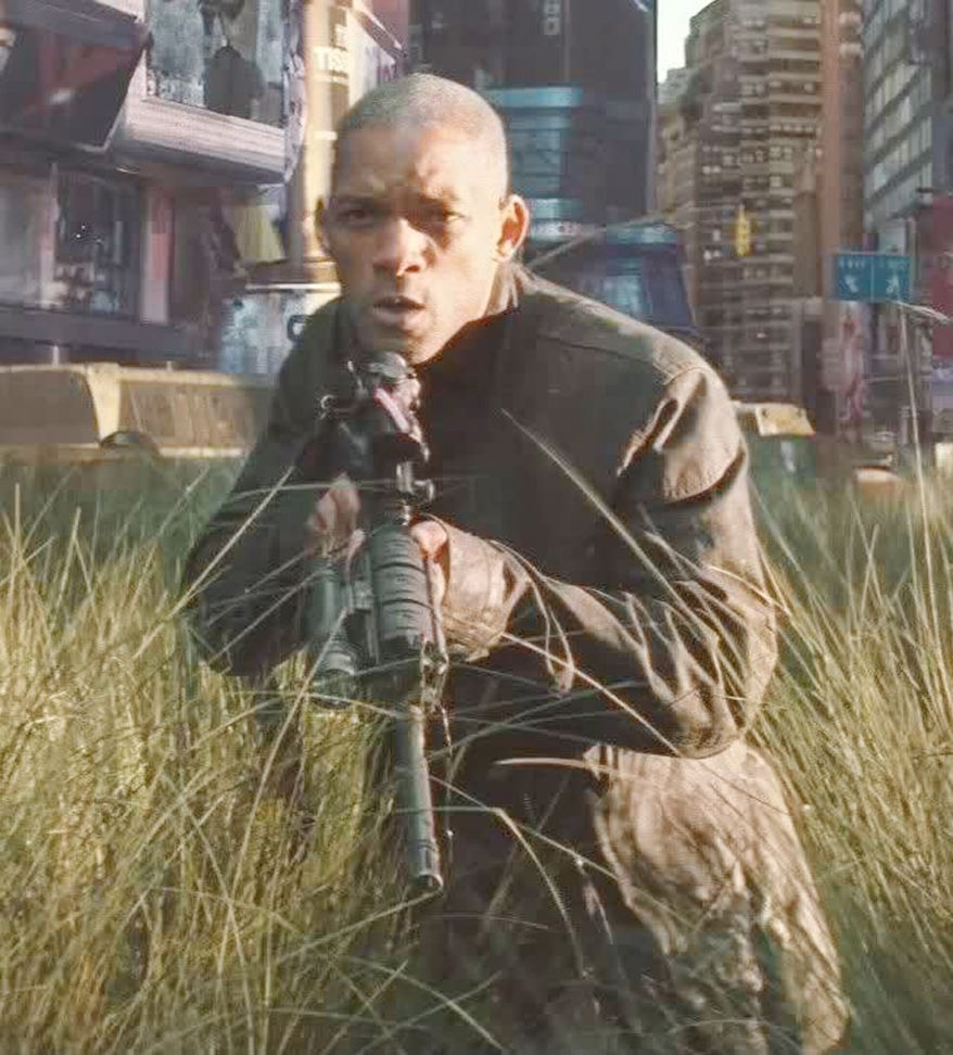 Will Smith hunts zombies with an AR-15 in the movie I Am Legend.