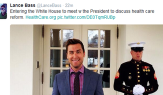 Lance Bass at the White House (Twitter screengrab)