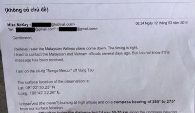 ABC News correspondent Bob Woodruff has obtained a letter that oil rig worker Michael Jerome McKay wrote to his employer claiming he saw Malaysia Airlines flight 370 go down in flames. (Twitter: Bob Woodruff)