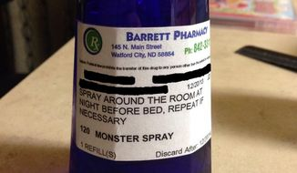 Pharmacist Jeff Dodds and his daughter, Josslyn Dodds, created Monster Spray after a friend of another employee complained that her daughter couldn't sleep because she was afraid of imaginary monsters. (Imgur)