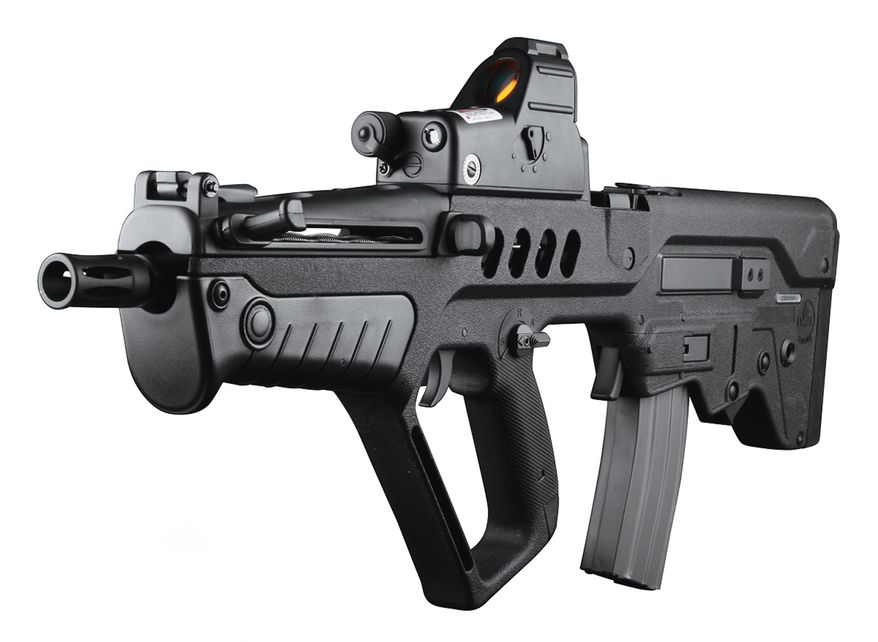 The IWI (former IMI) Tavor TAR-21 is an Israeli assault rifle designed to be more effective in urban combat than the M16 series but still be able to be as effective at a range as the M16. In order to accomplish this, the rifle utilizes a bullpup design that shortens the weapon by 300mm in the standard models.