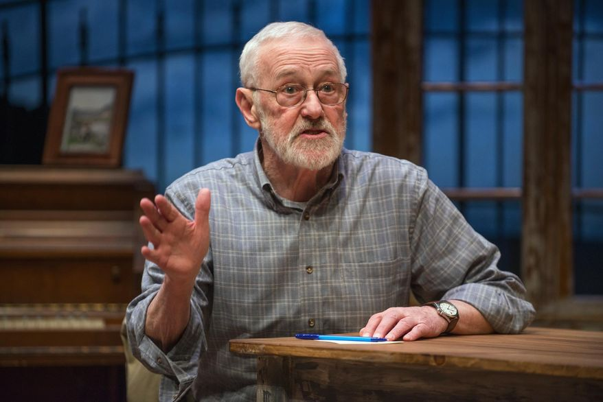 "In this March 6, 2014 photo provided by the Northlight Theatre in Skokie, Ill., actor John Mahoney, 73, plays a scene in the final dress rehearsal for ""Chapatti,"" by Irish playwright Christian O'Reilly. It tells the story of a man living in Dublin with his dog named Chapatti. It runs March 7 to April 13 before going to Galway, Ireland. (AP Photo/Courtesy of the Northlight Theatre, Michael Brosilow)"