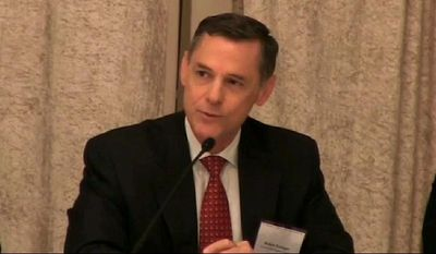 This video framgrab, taken Oct. 31, 2013, and provided by the American Bar Association (ABA)  shows the CIA's acting general counsel Robert Eatinger speaking during the 23rd Annual Review of the Field of National Security Law, hosted by the ABA Standing Committee on Law and National Security, in Washington. The senior CIA lawyer accused by the head of the Senate Intelligence Committee of trying to intimidate the panel over its investigation into secret prisons and brutal interrogations of terrorism suspects was himself involved in the controversial programs.  (AP Photo/ABA)