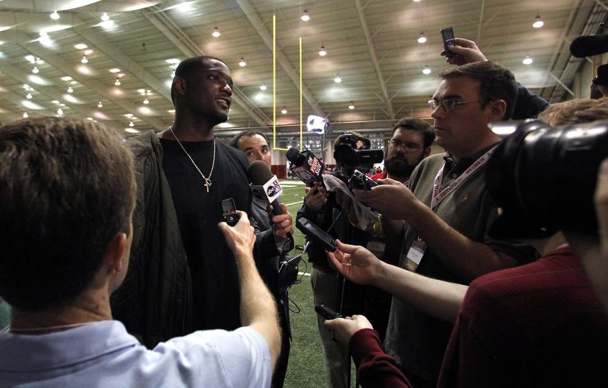 Former NFL player Rolando McClain talks with members of the media during pro day at the University of Alabama, Wednesday, March 12, 2014, in Tuscaloosa, Ala. (AP Photo/Butch Dill)
