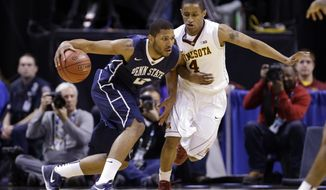 Penn State guard D.J. Newbill (2) drives the ball against Minnesota guard Deandre Mathieu (4) in the first half of an NCAA college basketball game in the first round of the Big Ten Conference tournament, Thursday, March 13, 2014, in Indianapolis. (AP Photo/Michael Conroy)