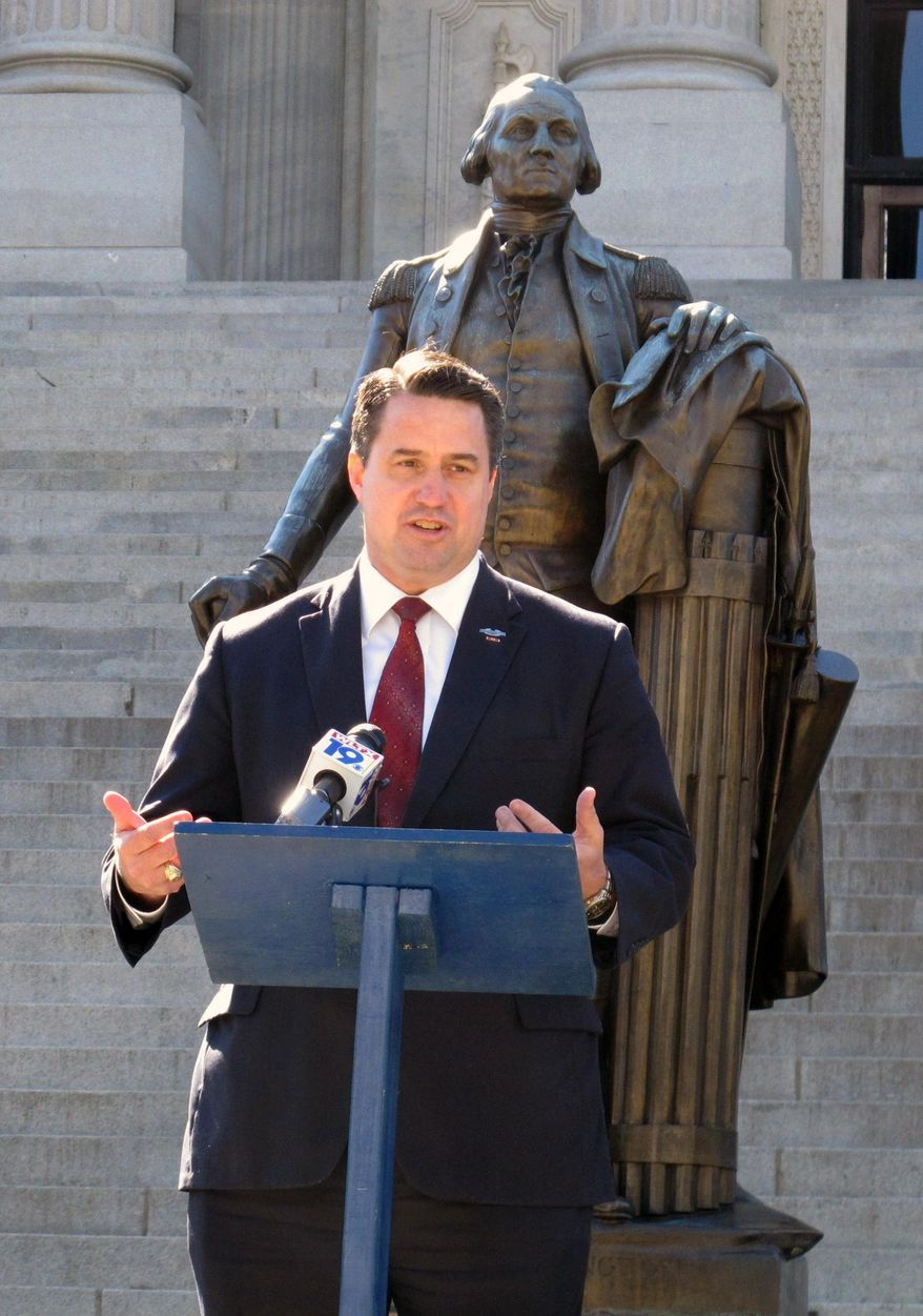 Republican U.S. Senate candidate Bill Connor speaks after signing an agreement to support any challenger who gets into a runoff with U.S. Sen. Lindsey Graham in June, on the steps of the Statehouse, Thursday, March 13, 2014, in Columbia, S.C. Six GOP candidates have said they want to take on Graham as he seeks a third term. (AP Photo/Jeffrey Collins)