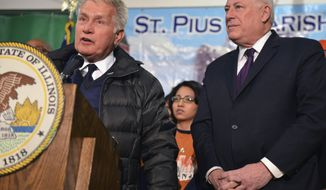 Actor Martin Sheen speaks at a church in Chicago, Thursday, March 13, 2014, as Illinois Gov. Pat Quinn looks on after Sheen came to the city to help the governor make his push to raise Illinois' minimum wage. Both Sheen and Quinn say raising Illinois' $8.25 rate is a moral issue. (AP Photo/Sun-Times Media, Al Podgorski)  MANDATORY CREDIT, MAGS OUT, NO SALES