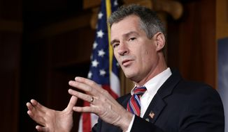 ** FILE ** In this Nov. 13, 2012, file photo, then-Massachusetts Sen. Scott Brown speaks on Capitol Hill in Washington. (AP Photo/Alex Brandon, File)