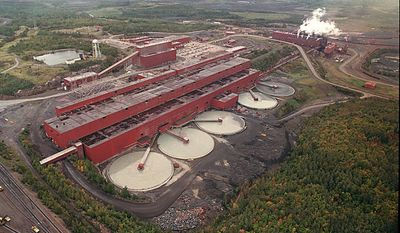 FILE - In this undated aerial file photo is the  LTV Steel processing plant near Hoyt Lakes, Minn., which was taken over by Polymet Mining Corp. to use as a copper-nickel processing plant. As the deadline approached Thursday, March 13, 2014 for the public to comment on the environmental review for the proposed PolyMet copper-nickel mine, critics said the document is fails to address important questions about how the mine near Babbitt and the Hoyt processing plant would affect the environment. (AP Photo/Mesabi Daily News, file)