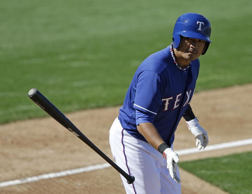 Texas Rangers' Shin-Soo Choo tosses his bat after walking during the sixth inning of a spring exhibition baseball game against the Los Angeles Angels, Wednesday, March 12, 2014, in Surprise, Ariz. (AP Photo/Darron Cummings)
