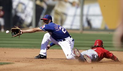 Los Angeles Angels' Collin Cowgill, right, steals second as Texas Rangers' Brent Lillibridge takes the throw during the fourth inning of a spring exhibition baseball game Wednesday, March 12, 2014, in Surprise, Ariz. (AP Photo/Darron Cummings)