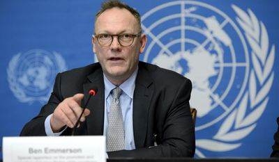 Ben Emmerson, UN  Special Rapporteur  on Counter Terrorism and Human Rights  speaks during a press conference about his annual report to the Human Rights Council on the use of remotely piloted aircraft, or drones, in extraterritorial lethal counter-terrorism operations,   at the European headquarters of the United Nations, in Geneva, Switzerland, Wednesday, March 12, 2014.. The expert will also refer to his reports on his 2013 missions to Burkina Faso and Chile.  (AP Photo/Keystone,Martial Trezzini)