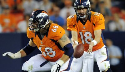 FILE - In this Aug. 18, 2012, file photo, Denver Broncos quarterback Peyton Manning (18) takes the snap as guard Zane Beadles (68) protects during the first half of a preseason NFL football game against the Seattle Seahawks in Denver. Just days after cutting starting guard Uche Nwaneri for performance reasons, the Jaguars agreed to terms with former Denver Broncos guard Zane Beadles on a five-year contract worth $30 million.  (AP Photo/Jack Dempsey, File)
