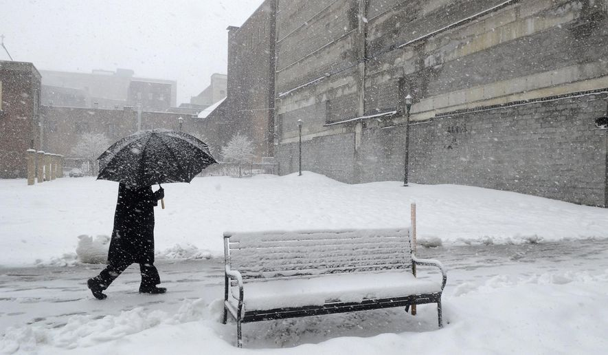 A New York snow scene following a major blizzard..  (AP Photo/The Syracuse Newspapers, David Lassman)