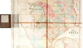 In this undated photo provided by Heritage Auctions is a 1849 first edition map of Texas, considered the first official map after Texas became a state in 1845. It is expected to sell for more than $150,000 when it goes up for auction Saturday in Dallas by Heritage Auctions. (AP Photo/Heritage Auctions)