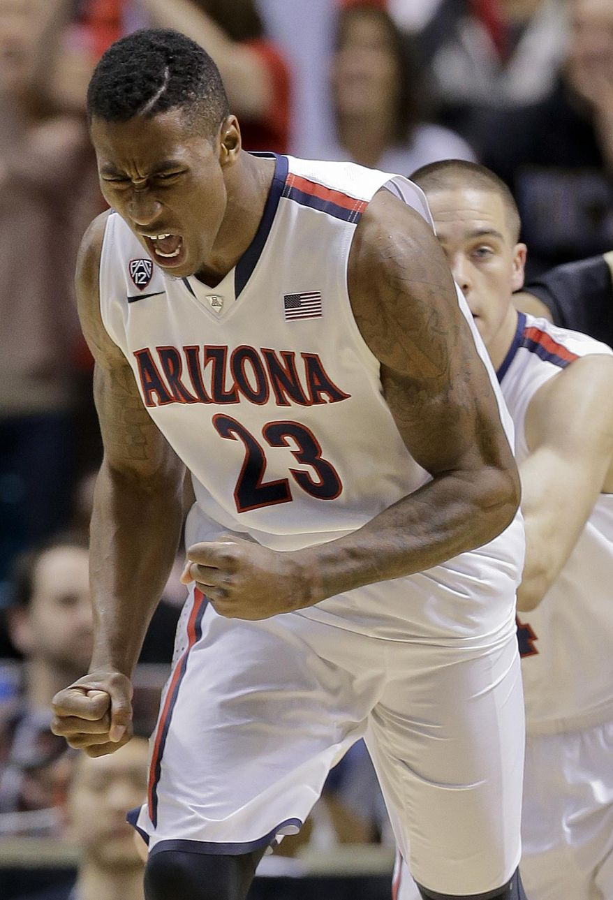 Arizona's Rondae Hollis-Jefferson reacts after scoring against Colorado during the second half of an NCAA college basketball game in the semifinals of the Pac-12 Conference on Friday, March 14, 2014, in Las Vegas. Arizona won 63-43. (AP Photo/Julie Jacobson)