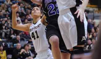 Army's Olivia Schretzman (12) blocks the shot of Holy Cross' Alex Smith (22) as Army's Brianna Johnson (41) also defends during the first half of an NCAA college basketball game in the Patriot League Championship at Christi Arena, Saturday, March 15, 2014, at West Point, N.Y. (AP Photo/Karl Rabe)