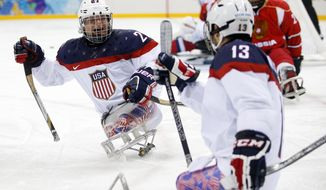 United States's Joshua Pauls, left, celebrates as Joshua Sweeney, right scores a goal during the gold medal ice sledge hockey match between United States and Russia at the 2014 Winter Paralympics in Sochi, Russia, Saturday, March 15, 2014. (AP Photo/Pavel Golovkin)