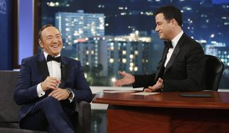 "In this image provided by ABC, Kevin Spacey appears on the 9th annual ""Jimmy Kimmel Live: After the Oscars"" special in Los Angeles on March 2, 2014. Spacey's appearance followed a brief cameo by Toronto Mayor Rob Ford, who was scheduled to appear on the March 3 show. Ford is claiming he wouldn't know Kevin Spacey ""if I ran over him,"" after the House of Cards star poked fun at the mayor after his cameo. (AP Photo/ABC, Randy Holmes)"