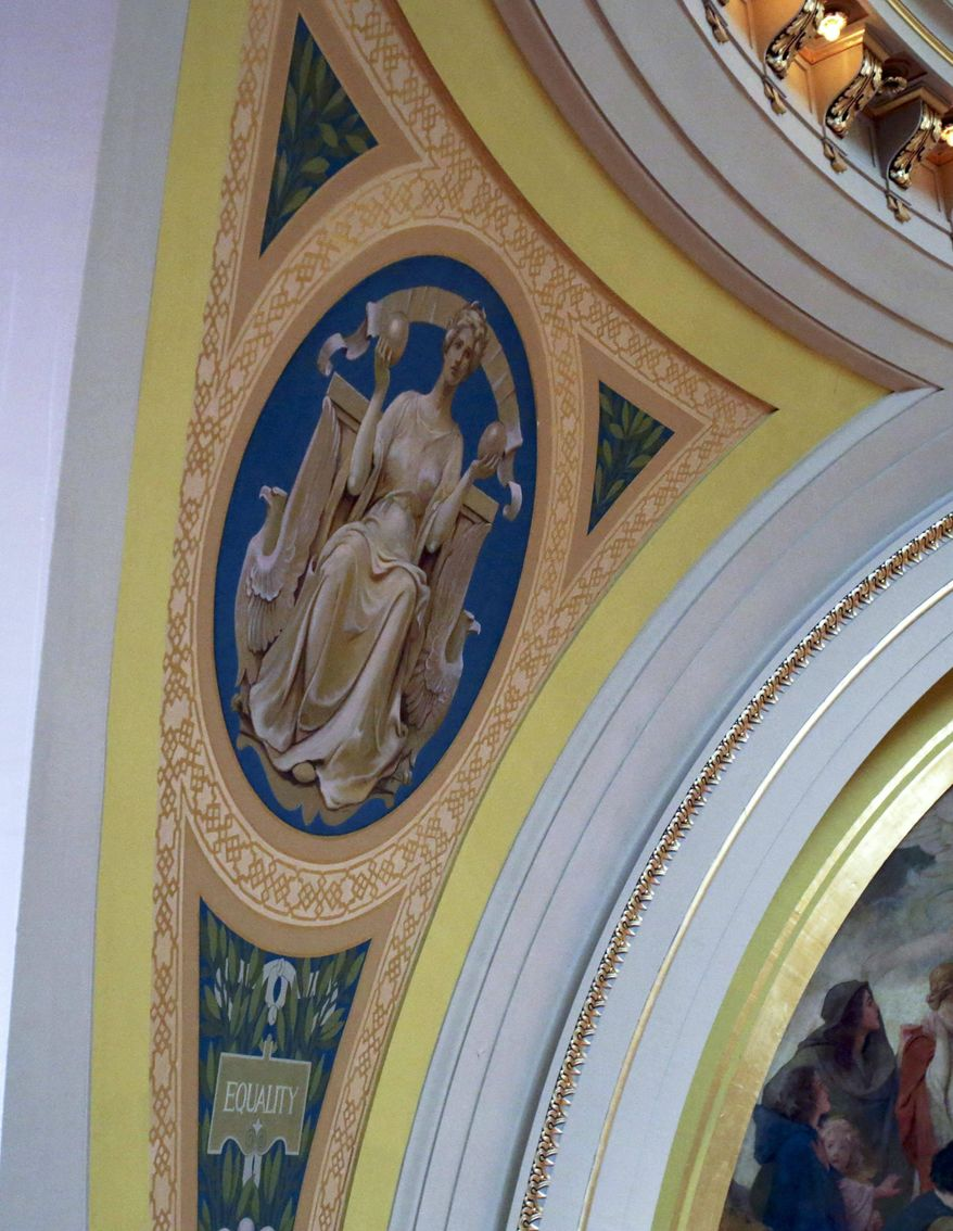 In this March 6, 2014 photo, a mural featuring an allegorical image representing equality rises over the Senate chamber at the Minnesota State Capitol in St. Paul, Minn. Beginning in the spring, work crews will take down paintings and sculpture and cover murals and statues as the renovation continues on the  century old building. (AP Photo/Jim Mone)
