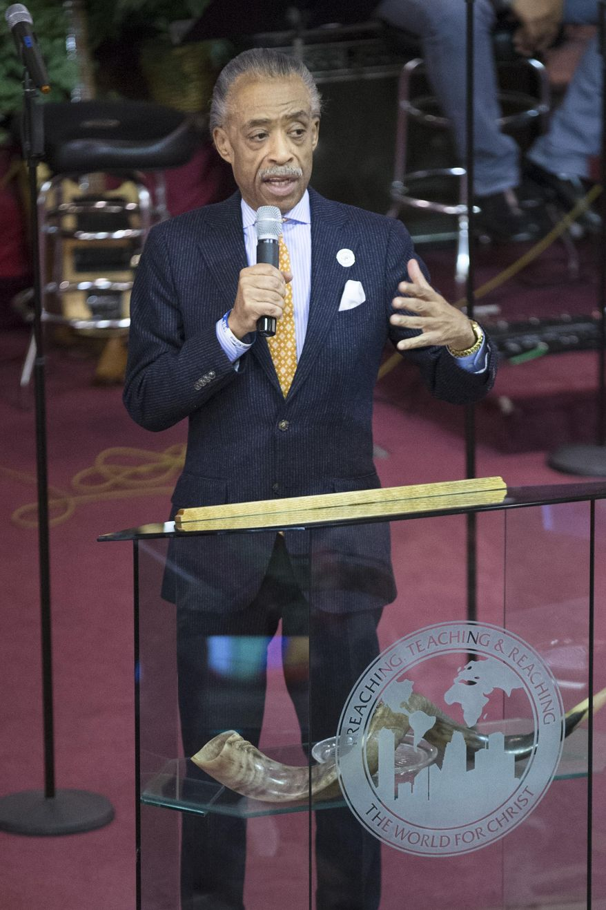 """The Rev. Al Sharpton speaks during Sunday services at the Bethel Gospel Assembly as the congregation mourns the deaths of two members in Wednesday's explosions in the East Harlem neighborhood of New York, Sunday, March 16, 2014. New York City Mayor Bill de Blasio said the women lost """"were examples to all of us"""" because of the faith and spirit they demonstrated. (AP Photo/John Minchillo)"""