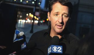 ** FILE ** In this Oct. 28, 2013, file photo, television infomercial pitchman Kevin Trudeau speaks to the media after leaving the Metropolitan Correctional Center in downtown Chicago. On Monday, March 17, 2014, a federal judge in Chicago sentenced Trudeau to 10 years in prison for bilking consumers via infomercials for his best-selling weight loss book. (AP Photo/Sun-Times Media, Michael Jarecki)
