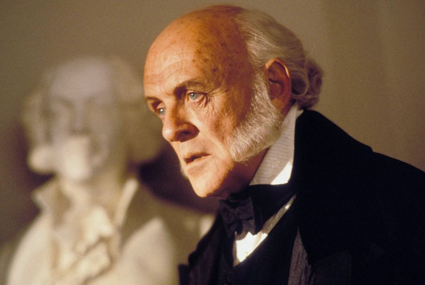 "John Quincy Adams portrayed by Anthony Hopkins in ""Amistad"" (1997)."