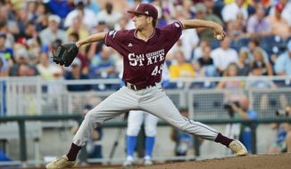 FILE - In this June 25, 2013, file photo, Mississippi State pitcher Ross Mitchell works against UCLA in Game 2 in an NCAA College World Series baseball finals in Omaha, Neb. Mitchell made a surprise start for Mississippi State, and after what he did against Georgia, coach John Cohen might want to make it a regular thing. Mitchell, ordinarily a reliever, threw a complete game and helped the Bulldogs to their first series win at Georgia since 1997. (AP Photo/Ted Kirk, File)