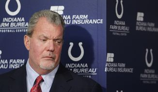 FILE - In this Jan. 17, 2012 file photo, Indianapolis Colts owner Jim Irsay listens during a news conference at the NFL football team's headquarters in Indianapolis. Authorities say Irsay is in jail after being stopped on suspicion of drunken driving. Hamilton County Sheriff's Department Deputy Bryant Orem says Irsay was arrested Sunday night, March 16, 2014, in the northern Indianapolis suburb of Carmel. (AP Photo/Darron Cummings, File)