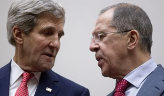 FILE - In this Nov. 24, 2013 file photo U.S. Secretary of State John Kerry, left, and Russia's Foreign Minister Sergey Lavrov, talk during a photo opportunity at the United Nations, in Geneva, Switzerland. Tehran may have a new ally on Tuesday when Iran nuclear talks reconvene _ the Ukraine crisis. U.S.-Russian tensions over Ukraine could fray the search for consensus on what Iran needs to do to ease fears it could make atomic arms. (AP Photo/Carolyn Kaster, Pool, File)