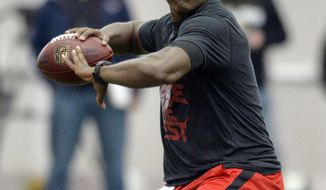 Louisville quarterback Teddy Bridgewater participates in a passing drill for NFL representatives during pro day at the University of Louisville in Louisville, Ky., Monday, March 17, 2014. (AP Photo/Timothy D. Easley)