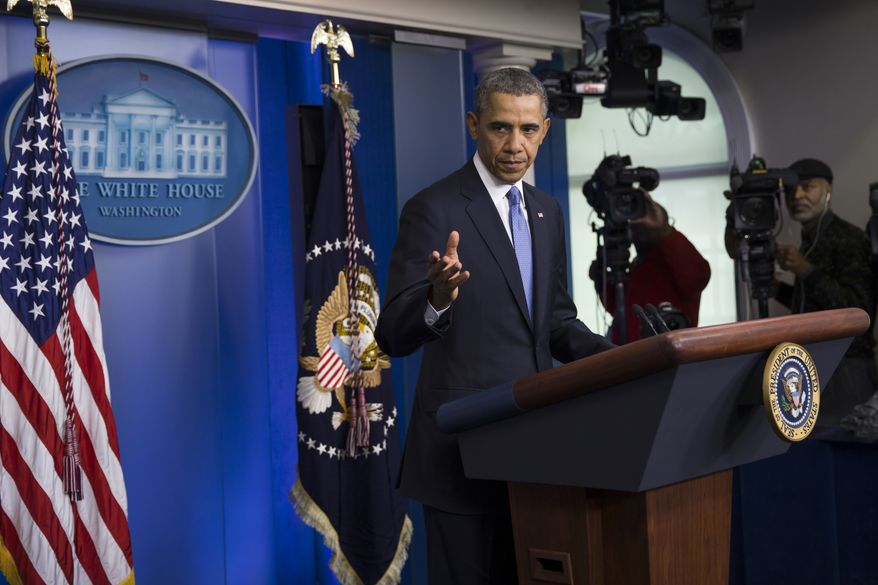 President Barack Obama speaks about Ukraine, Monday, March 17, 2014, in the briefing room of White House  in Washington. The president imposed sanctions against Russian officials, including advisers to President Vladimir Putin, for their support of Crimea's vote to secede from Ukraine. (AP Photo/ Evan Vucci)