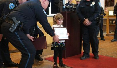 Weymouth Police gave 3-year-old Aryanna Lynch a commendation last week to recognize her bravery in an emergency. (Weymouth Police Department via Facebook)