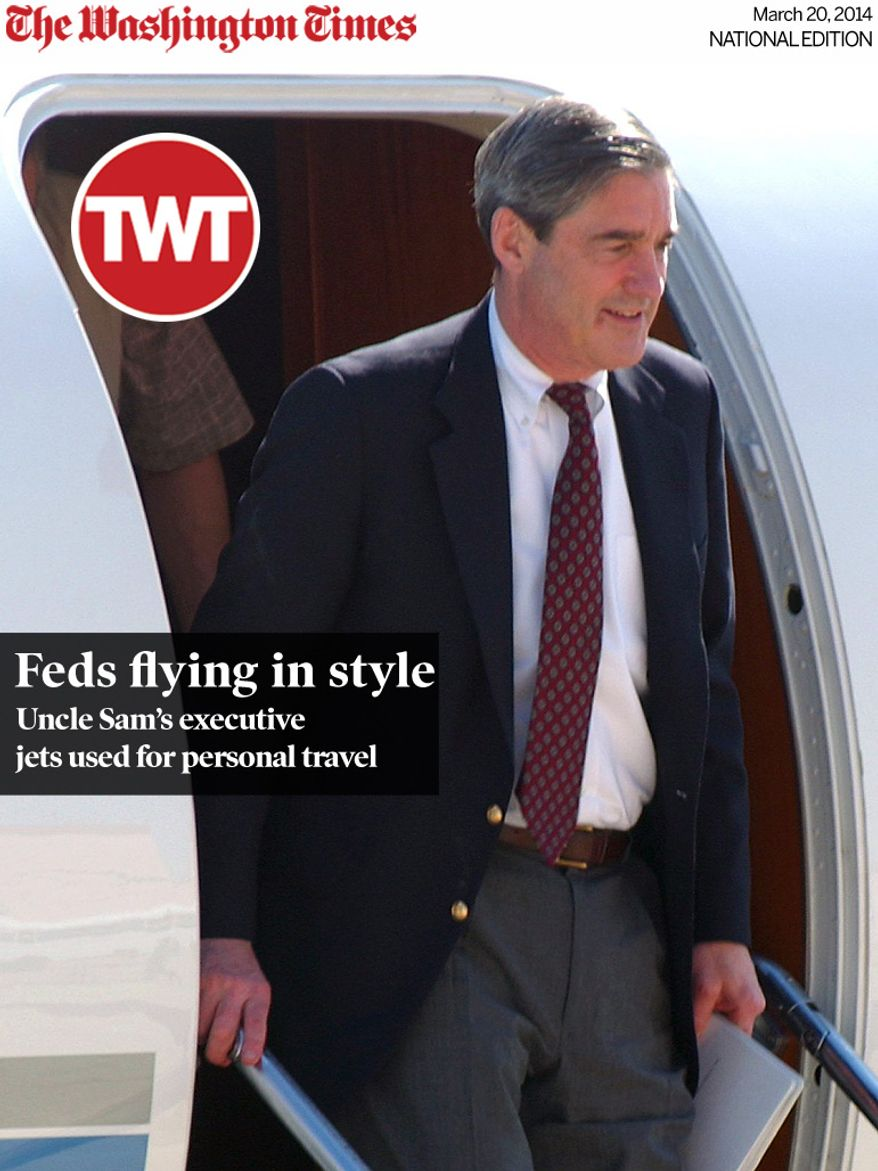 National Edition News cover for March 20, 2014 - Feds flying in style: FBI director Robert Mueller leaves the plane upon his arrival at the Guantanamo Bay U.S. Naval Base, Cuba, on Sunday, March 3, 2002. Mueller is in Guantanamo Bay to meet with the leadership of the Joint Task Force 160 and FBI agents at Camp X-Ray. (AP Photo/Andres Leighton)