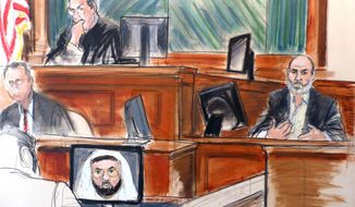 In this courtroom sketch Osama bin Laden's son-in-law, Sulaiman Abu Ghaith, right, testifies at his trial Wednesday, March 19, 2014, in New York, on charges he conspired to kill Americans and aid al-Qaida as a spokesman for the terrorist group.  Listening to testimony are Judge Lewis Kaplan, upper left, and clerk Andrew Mohan, center left, as an image of Khalid Sheik Mohammed, the self-professed architect of the Sept. 11 attacks, appears on a video monitor. In his surprise testimony, Abu Ghaith recounted the night of the Sept. 11, 2001, attacks, when bin Laden sent a messenger to drive him into a mountainous area for a meeting inside a cave in Afghanistan. (AP Photo/Elizabeth Williams)