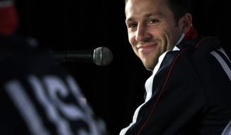 FILE - In a June 21, 2010 file photo, U.S. national soccer defender Steve Cherundolo smiles during a news conference in Irene, South Africa. Cherundolo said Wednesday, March 19, 2014 that he is retiring because of persistent knee injuries. (AP Photo/Elise Amendola, File)