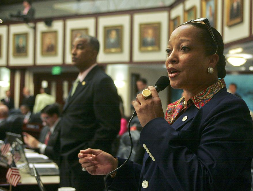 **FILE** Rep. Cynthia Stafford, Miami Democrat, speaks against the parental trigger bill on the floor of the Florida House of Representatives at the Capitol in Tallahassee on April 4, 2013. House Bill 867: Parent Empowerment in Education, passed on a 68-51 vote. (Associated Press)