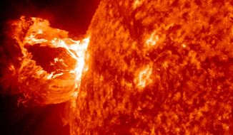 A solar eruption on April 16, 2012, which was captured by NASA's Solar Dynamics Observatory. (NASA) ** FILE **