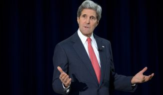 FILE - In this March 18, 2014 file photo, Secretary of State John Kerry speaks during a town hall meeting at the State Department. The Obama administration on Wednesday vented its anger at public insults and criticism of President Barack Obama and Secretary of State John Kerry by Israel's defense minister. The State Department said Kerry called Israeli Prime Minister Benjamin Netanyahu to protest recent remarks by Defense Minister Moshe Yaalon, who had accused the Obama administration of being weak on Iran and questioned its commitment to Israel's security. Previously, Yaalon has criticized Kerry personally for being unrealistic and naive in trying to forge an Israeli-Palestinian peace deal.  (AP Photo/Jacquelyn Martin, File)