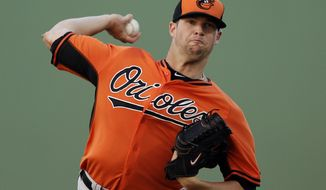Baltimore Orioles starting pitcher Bud Norris throws during the first inning of a spring exhibition baseball game against the Pittsburgh Pirates in Bradenton, Fla., Thursday, March 20, 2014. (AP Photo/Carlos Osorio)