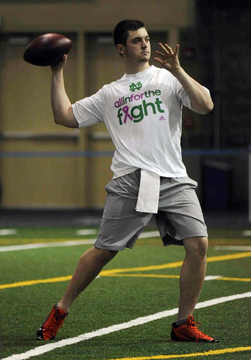 Notre Dame quarterback Tommy Rees throws during Notre Dame pro day for NFL football representatives Thursday, March 20, 2014, in South Bend, Ind. (AP Photo/Joe Raymond)