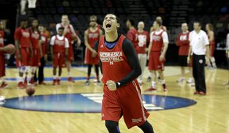 Nebraska's Tai Webster reacts after missing a shot from half court during practice for the NCAA college basketball tournament in San Antonio, Thursday, March 20, 2014. Nebraska plays against Baylor in a second-round game on Friday. (AP Photo/David J. Phillip)
