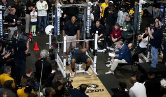 Scouts, teammates and media gather to watch former Missouri defensive lineman Michael Sam perform the bench press during pro day for NFL football representatives Thursday, March 20, 2014, in Columbia, Mo. (AP Photo/L.G. Patterson)