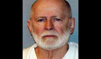 "** FILE ** This file June 23, 2011, booking photo provided by the U.S. Marshals Service shows James ""Whitey"" Bulger, captured in Santa Monica, Calif., after 16 years on the run. (AP Photo/U.S. Marshals Service, File)"