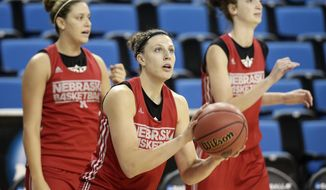 Nebraska's Jordan Hooper looks to shoot during practice for the NCAA women's college basketball tournament on Friday, March 21, 2014, in Los Angeles. Nebraska is scheduled to play Fresno State in a first-round game on Saturday. (AP Photo/Jae C. Hong)