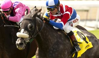 In this photo released by Benoit Photo,  David Heerensperger's Fire With Fire and jockey Tyler Baze win the Grade II $200,000 San Luis Rey Stakes horse race, Saturday, March 22, 2014, at Santa Anita Park in Arcadia, Calif. (AP Photo/Benoit Photo)
