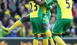 Norwich City's Alex Tettey, center, celebrates his goal against Sunderland during their English Premier League soccer match at Carrow Road, Norwich, England, Saturday, March 22, 2014. (AP Photo/Chris Radburn, PA Wire)   UNITED KINGDOM OUT   -   NO SALES   -   NO ARCHIVES