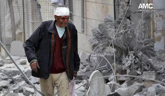 This Tuesday, March. 18, 2014 photo provided by the anti-government activist group Aleppo Media Center (AMC), which has been authenticated based on its contents and other AP reporting, a Syrian man, injured by a government airstrike, walks outside a damaged building in Aleppo, Syria. Activists said Syrian warplanes and helicopter gunships carried out several air raids in the northern province of Aleppo on Tuesday killing and wounding a number of people. (AP Photo/Aleppo Media Center, AMC)