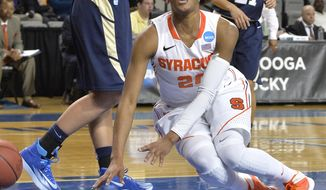 Syracuse' Brittney Sykes goes down with a knee injury during the second half of a first-round game in the NCAA college basketball tournament in Lexington, Ky., Saturday, March 22, 2014. Syracuse defeated Chattanooga 59-53. (AP Photo/Timothy D. Easley)