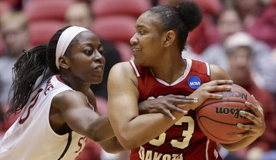 Stanford's Chiney Ogwumike, left, tries to get to the ball held by South Dakota's Polly Harrington (33) in the second half of a first-round game in the NCAA women's college basketball tournament in Ames, Iowa, Saturday, March 22, 2014. (AP Photo/Nati Harnik)